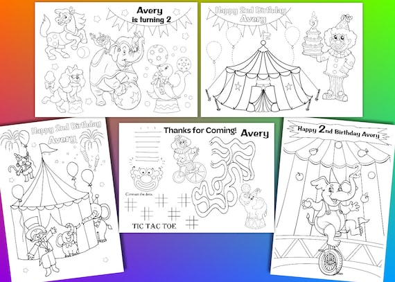 Circus Birthday Party Favor Circus Coloring Pages Pdf File Etsy