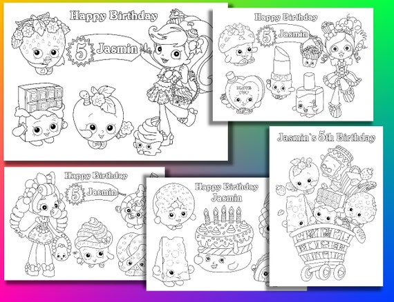 Shopkins coloring pages, Birthday Party coloring pages, PDF file
