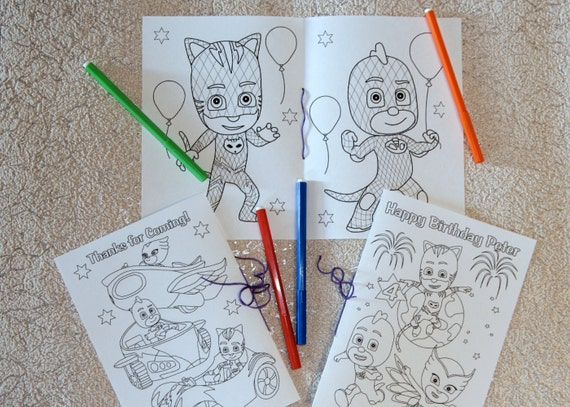 PJ Masks Birthday Party coloring pages activity book PDF | Etsy