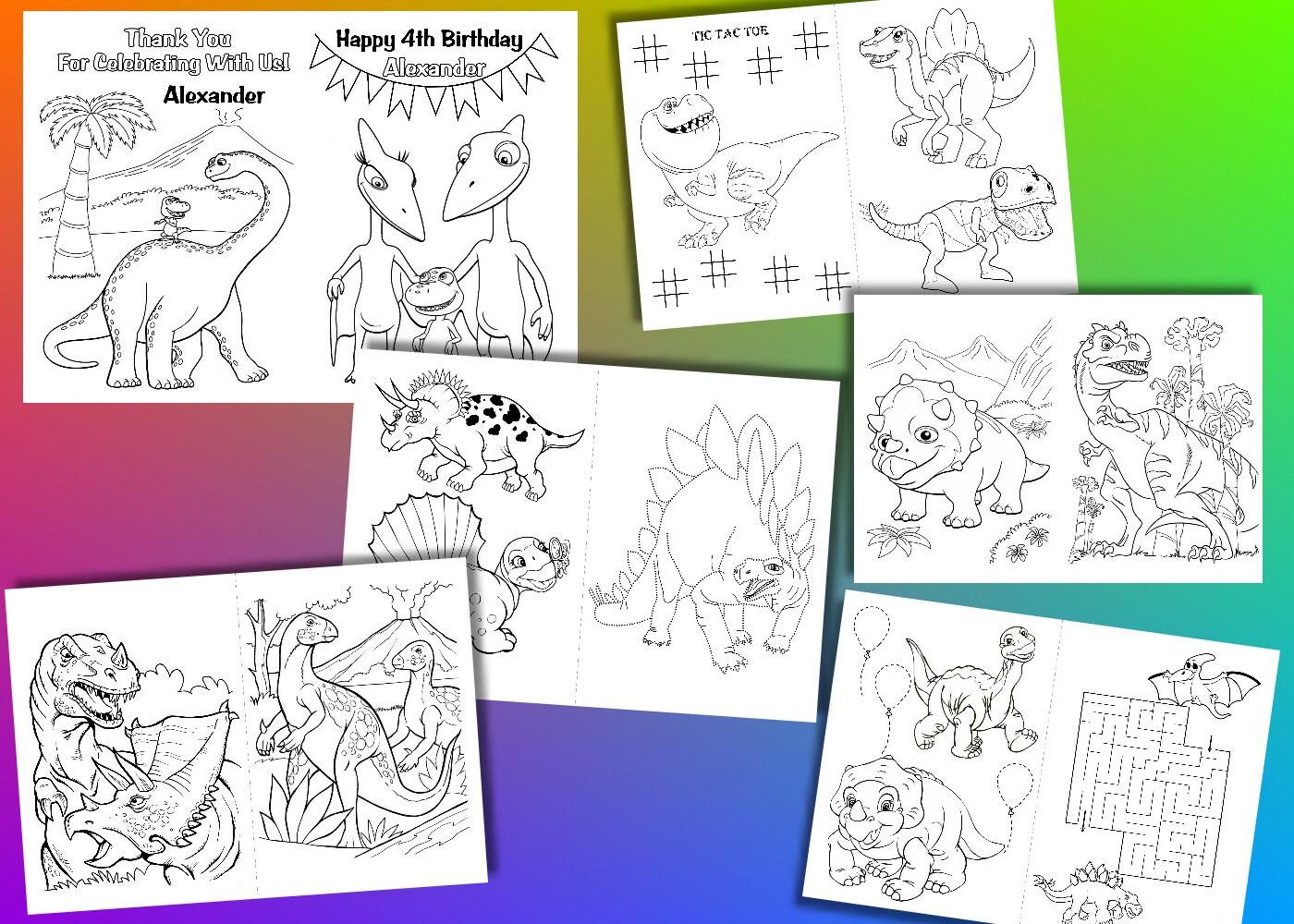 Festa Di Compleanno Di Dinosauro Da Colorare Libro Di Etsy