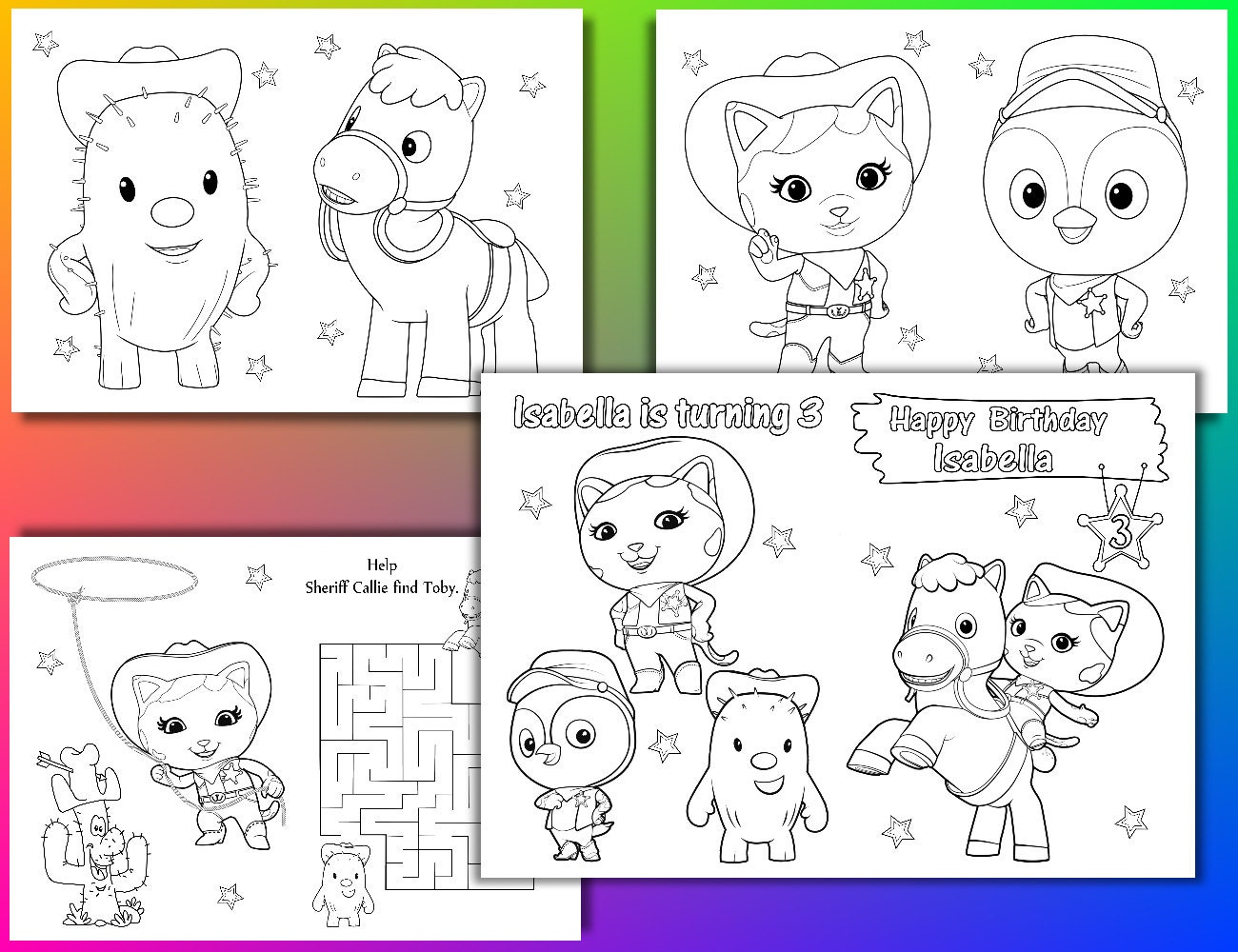Sheriff Callie Birthday Party coloring pages Sheriff Callie | Etsy