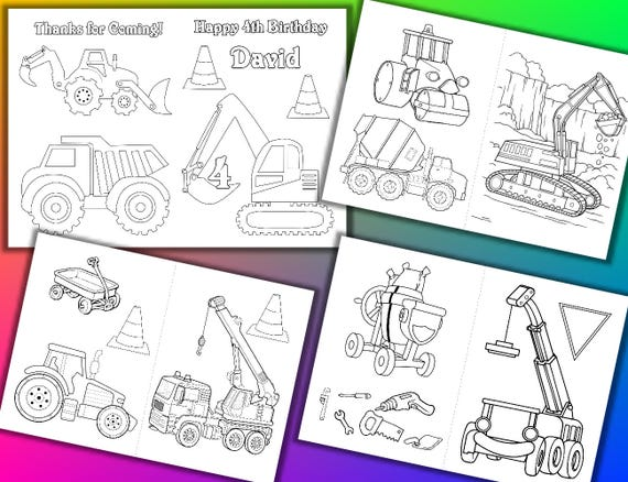 Fiesta de cumpleaños de la construcción para colorear libro | Etsy