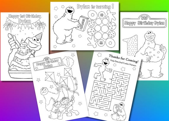 Cookie Monster Birthday Party Favor Cookie Monster Coloring Etsy