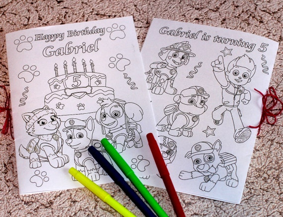 Personalized Paw Patrol Coloring Activity Book Pdf Etsy