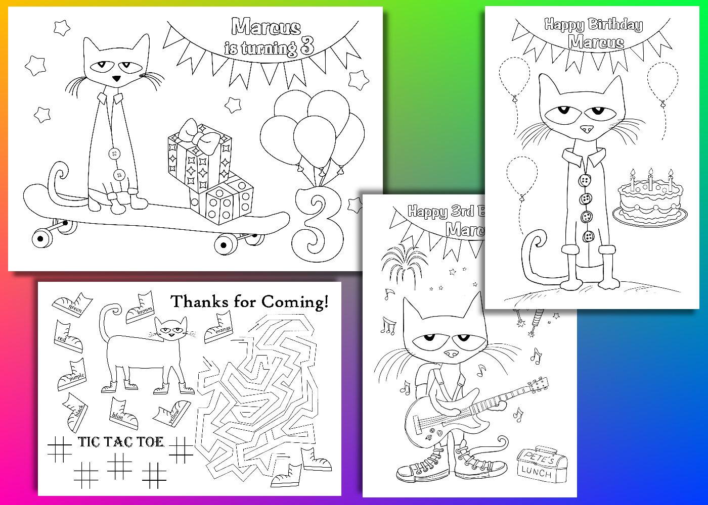 Pete el gato para colorear páginas Pete el gato cumpleaños | Etsy