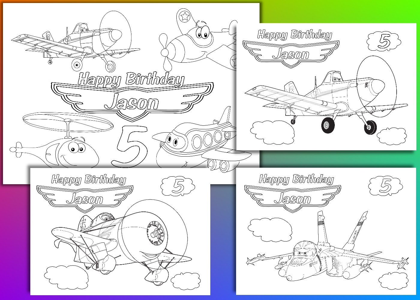 Fiesta de cumpleaños de aviones para colorear páginas | Etsy