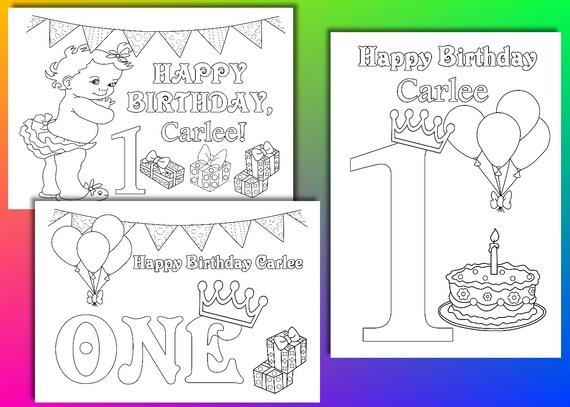 Primera chica de cumpleaños para colorear páginas primer | Etsy