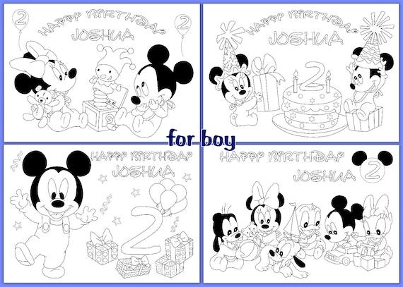 Bebé MICKEY MOUSE cumpleaños colorear páginas actividad | Etsy