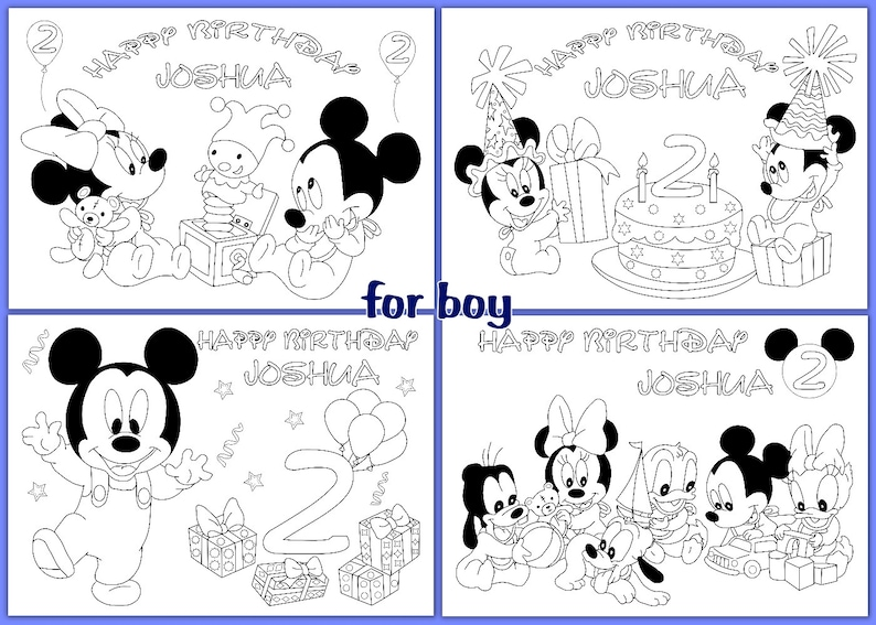 Baby Mickey Mouse Birthday Coloring Pages Activity Pdf File