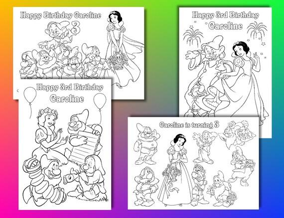 Pages De Coloriage Blanche Neige Fête D Anniversaire Blanche Neige Favor Fichier Pdf