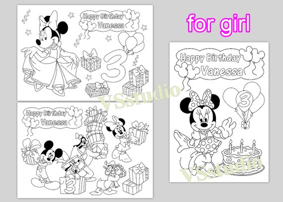 Minni and Mickey Mouse Personalized coloring pages, activity PDF