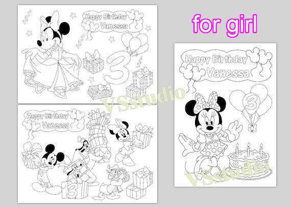 Páginas para colorear de Minni y Mickey Mouse personalizado