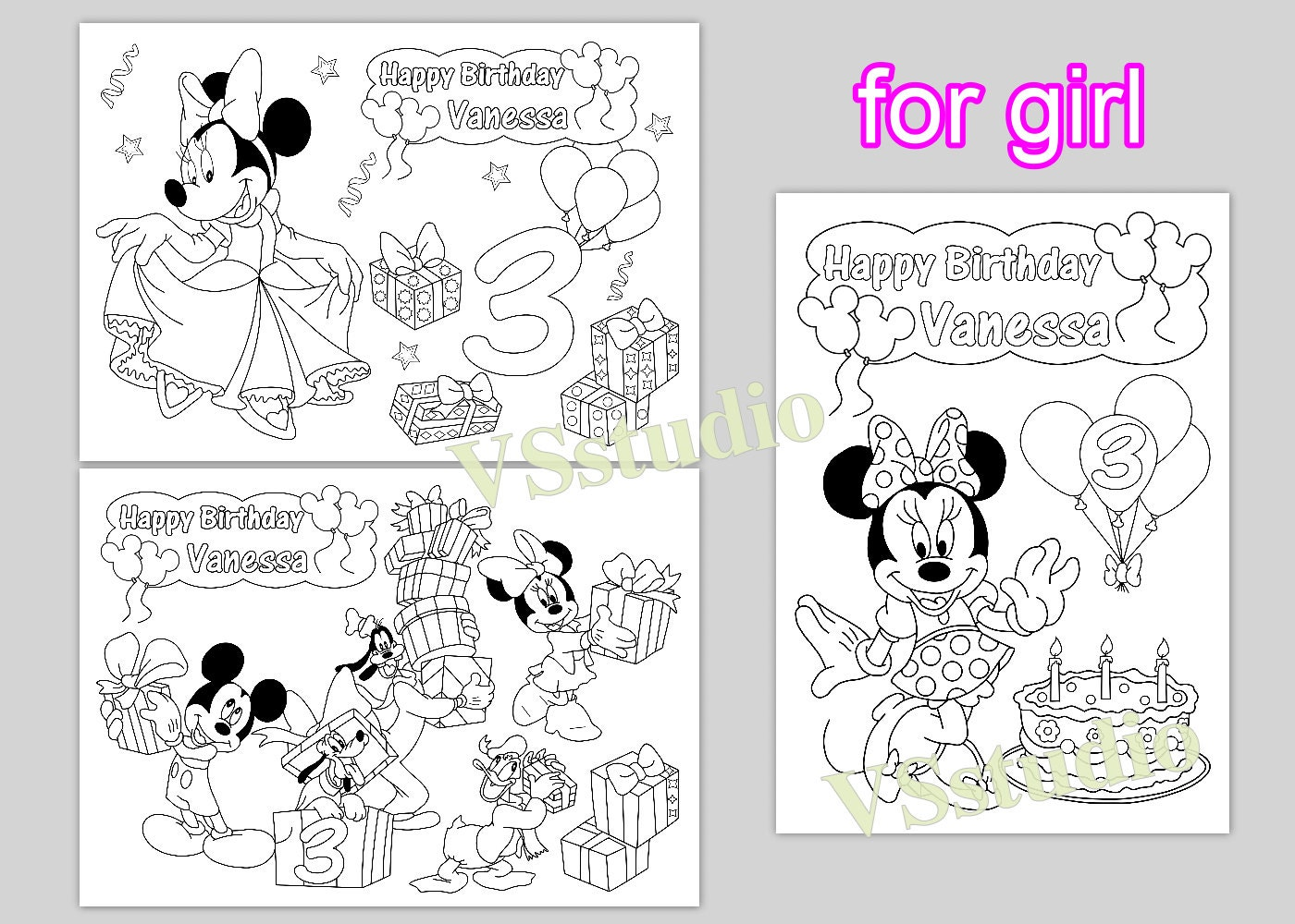 - Minni And Mickey Mouse Personalized Coloring Pages Activity Etsy