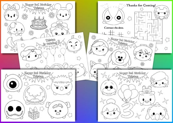 Colorear Tsum Tsum Cenicienta Tsum Tsum Dibujo Para: Tsum Tsum Birthday Party Favor Tsum Tsum Coloring Pages