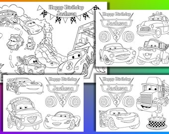 Personalized Disney Cars Birthday Party coloring pages, activity PDF file