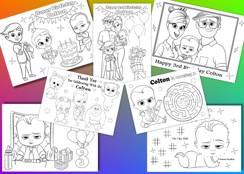 Boss Baby Birthday Party Favor Boss Baby Coloring Pages Pdf Etsy