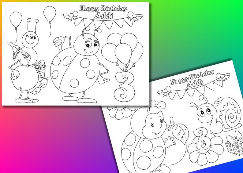Pagine Da Colorare Di Festa Di Compleanno Di Lady Bug File Etsy