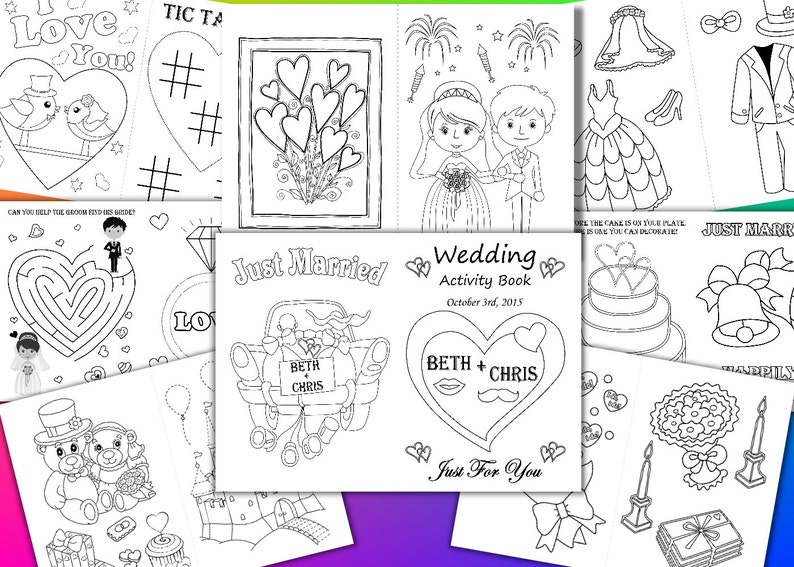 Kids Wedding coloring pages Kids Wedding Activity Book Kid | Etsy