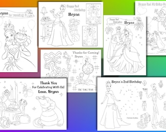 The Princess And Frog Birthday Party Favor Coloring Pages PDF File