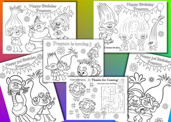 Trol para colorear páginas favor fiesta de cumpleaños de   Etsy