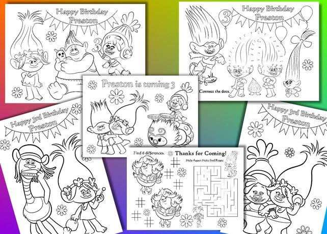 Trol para colorear páginas favor fiesta de cumpleaños de | Etsy