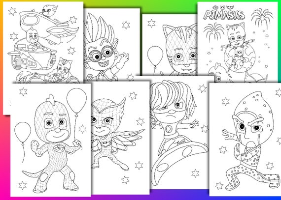 PJ Masks Coloring Pages Birthday Party Favor