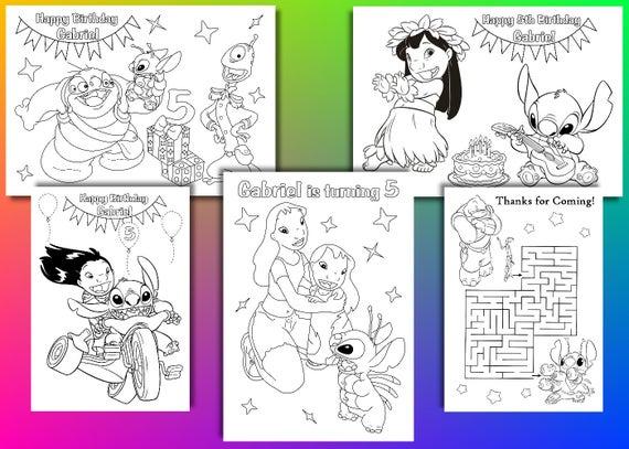 Lilo y puntada cumpleaños fiesta Favor páginas para colorear | Etsy