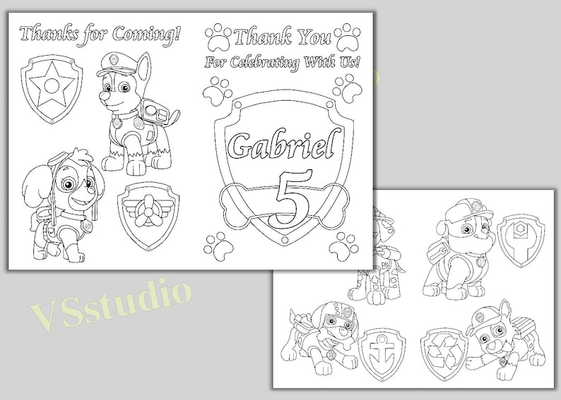 PAW Patrol Birthday Party Thank you coloring pages, activity book, PDF file