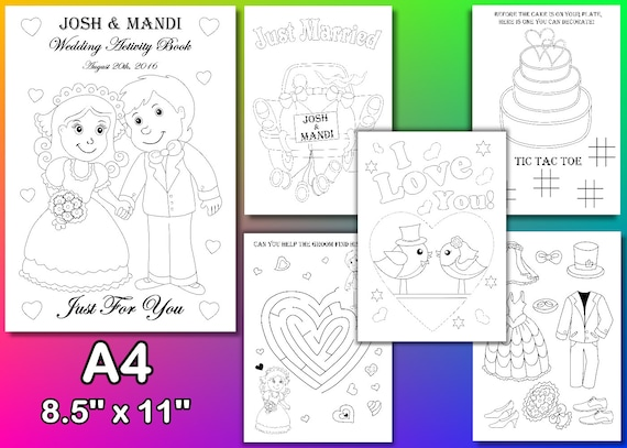 Wedding Coloring pages, Kids Wedding coloring pages, Personalized, pdf file