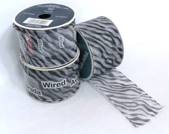 Zebra Stripe Wired Ribbon