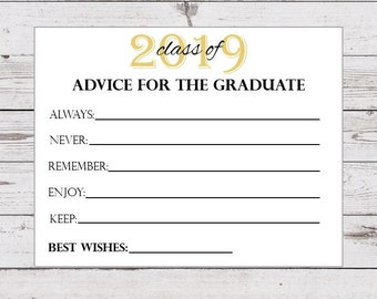 photograph relating to Free Printable Graduation Advice Cards identified as Commencement suggestions Etsy