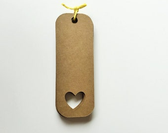 """54 Kraft Tags - 3"""" Rustic Favor Tags - All Purpose Tags With Heart"""