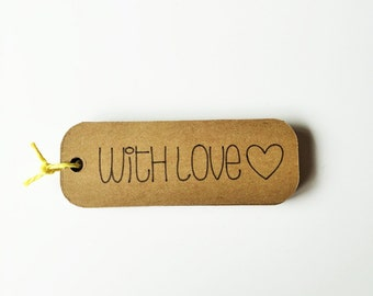 "Kraft ""With Love"" Tags - 3"" Wide ""With Love"" Favor Tags"