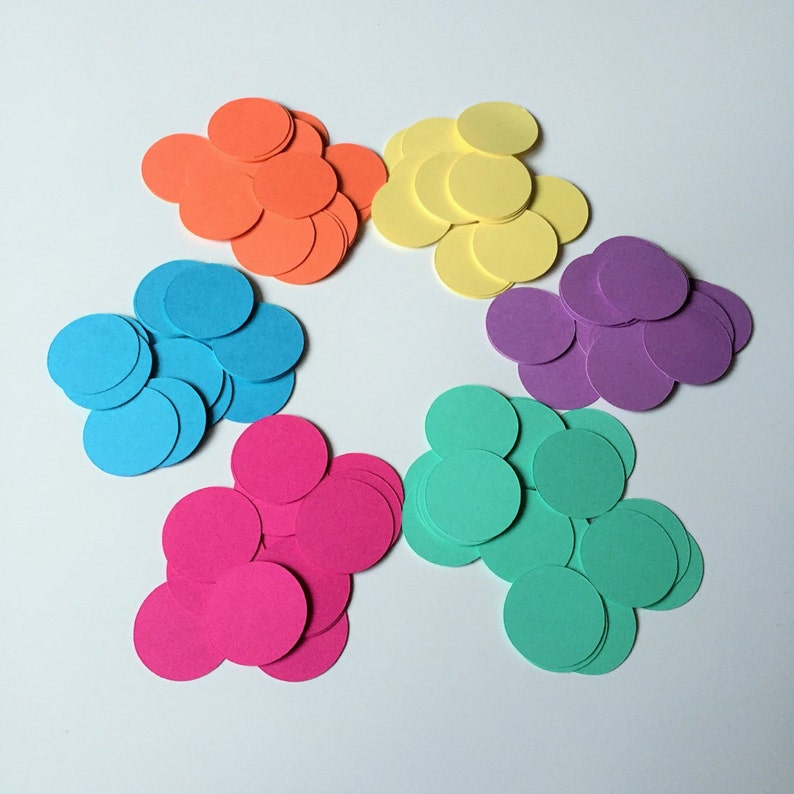 1 inch 200 Circle Confetti Mix-and-Match Baby Shower Table Confetti You Choose Colors Paper Circles
