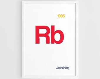 9182c13d877 New York Red Bulls MLS Football Elements Poster - A3 Wall Art Typography  Print Poster, Minimalist Poster, Football Poster, Soccer Poster