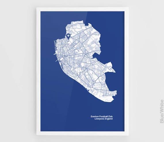 Everton England Map.Everton Fc Liverpool City Maps Print Goodison Park Football Etsy