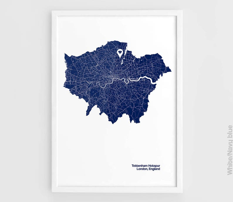 Tottenham London Map.Tottenham Hotspur London City Maps Print White Hart Lane Stadium