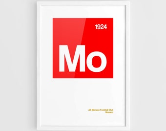 AS Monaco FC Football Elements Poster - A3 Wall Art Typography Print Poster, Minimalist Poster, Football Poster, Soccer Poster