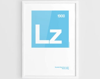 Lazio Football Elements Poster - A3 Wall Art Typography Print Poster, Minimalist Poster, Football Poster, Soccer Poster