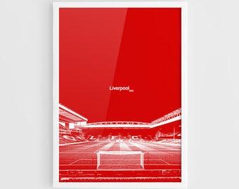 Liverpool FC, Anfield Football Stadium Poster - A3 Wall Art Print Poster, Minimalist Poster, Football Poster, Soccer Poster