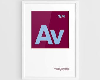 Aston Villa FC Football Elements Poster - A3 Wall Art Typography Print Poster, Minimalist Poster, Football Poster, Soccer Poster