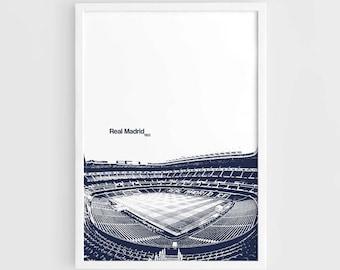 Real Madrid FC, Santiago Bernabeu Stadium Football Poster - A3 Wall Art Print Poster, Minimalist Poster, Football Poster, Soccer Poster
