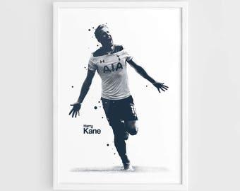 Harry Kane Tottenham Hotspur Spurs Football Poster - A3 Wall Art Print Poster, Minimalist Poster, Football Poster, Soccer Poster