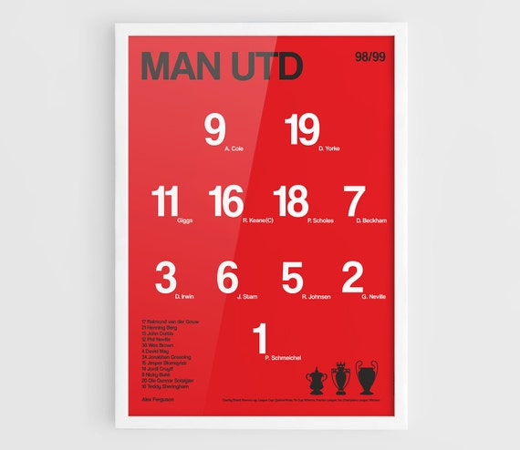 Manchester United Fc 1998 1999 Mufc Man Utd Squad Line Up Typographics Posters A3 Wall Art Print Poster Soccer Poster