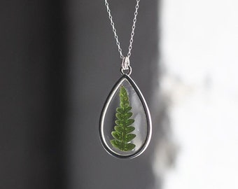 Fern necklace - dried fern necklace - botanical jewellery - gifts for plant lovers - boho necklace - nature jewellery - sterling silver