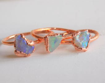 Raw opal ring - fire opal ring - raw crystal ring - copper crystal ring - opal stone ring - boho ring - copper ring - gifts for her