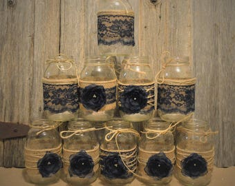 Burlap Mason Jars Rustic Wedding Decorations Bridal Shower Not Included And Lace Jar Sleeves