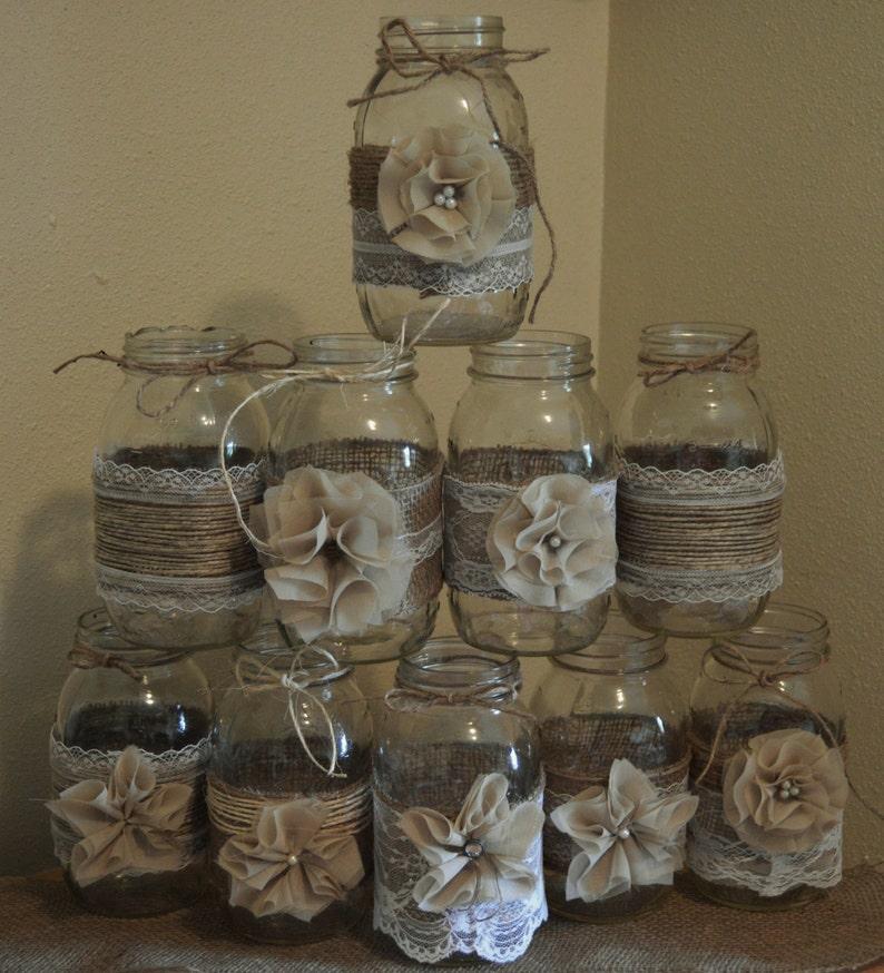 Set Of 10 Mason Jar Sleeves Burlap Wedding Decorations Etsy