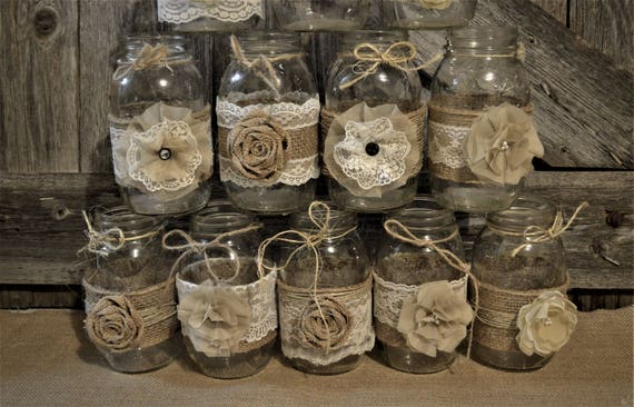 Mason Jar Wedding Centerpieces Burlap Wedding Decorations Etsy