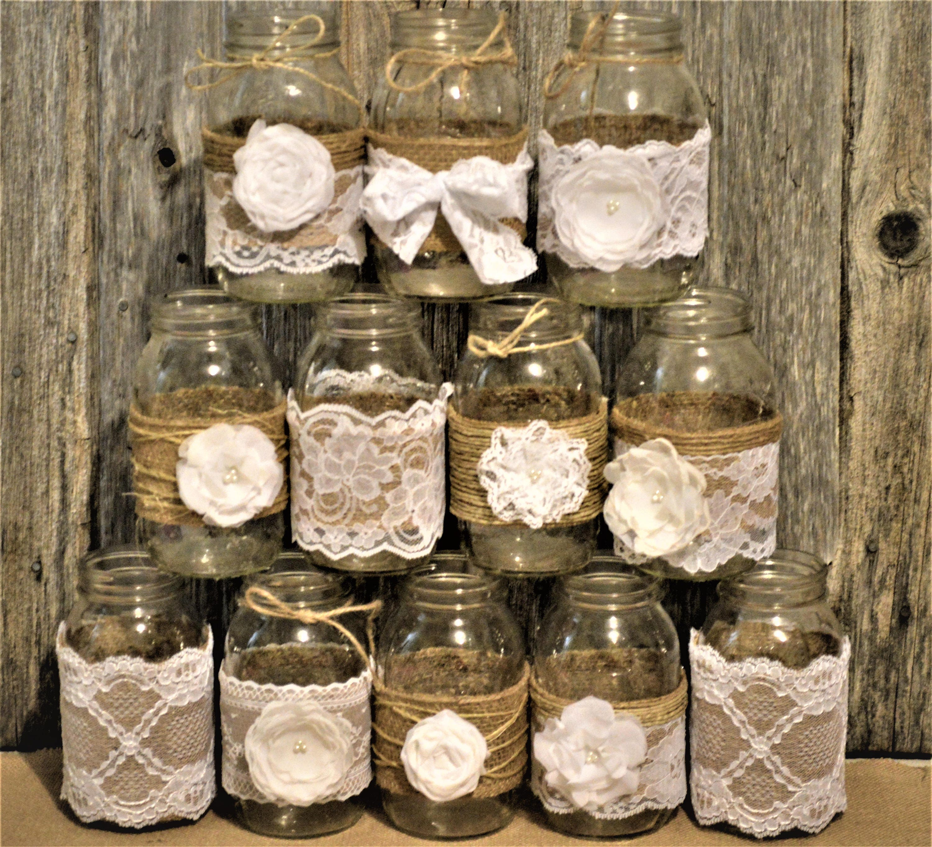 Mason Jar Wedding Centerpieces.Mason Jar Wedding Centerpiece Rustic Wedding Decorations Burlap Mason Jars White Wedding Wedding Decorations Baptism Decorations
